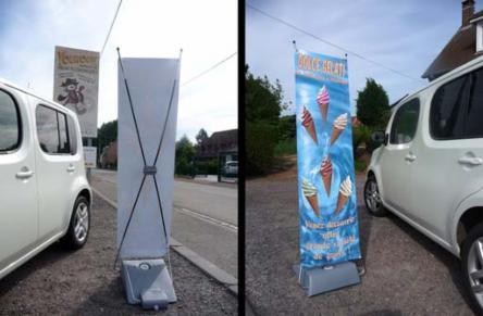 Kakemono stop trottoir youkouk petit imprimeur archi for Pancarte publicitaire exterieur